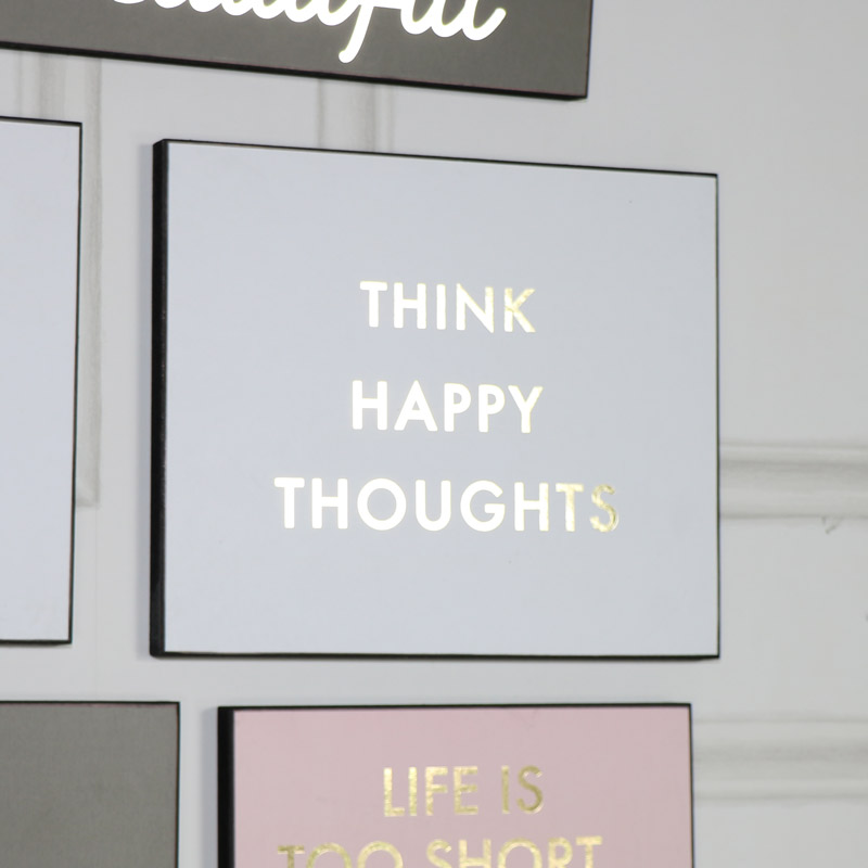 """""""Think Happy Thoughts"""" White and Gold Wall Plaque"""