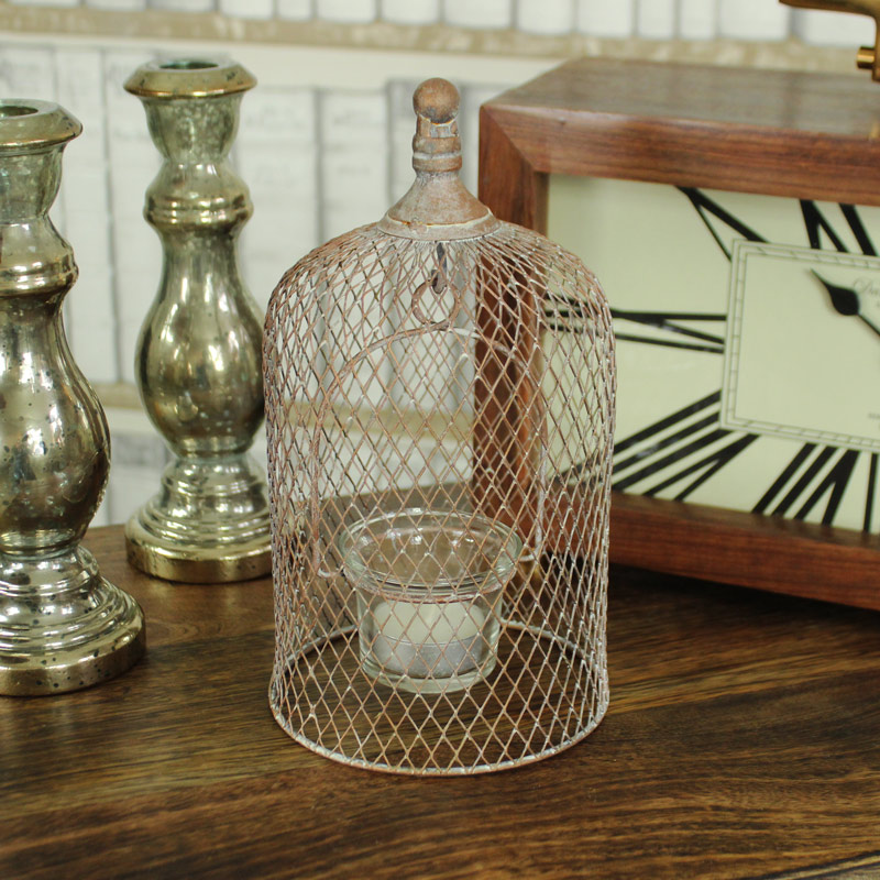 Copper Mesh Domed Tealight Holder with Glass Cup