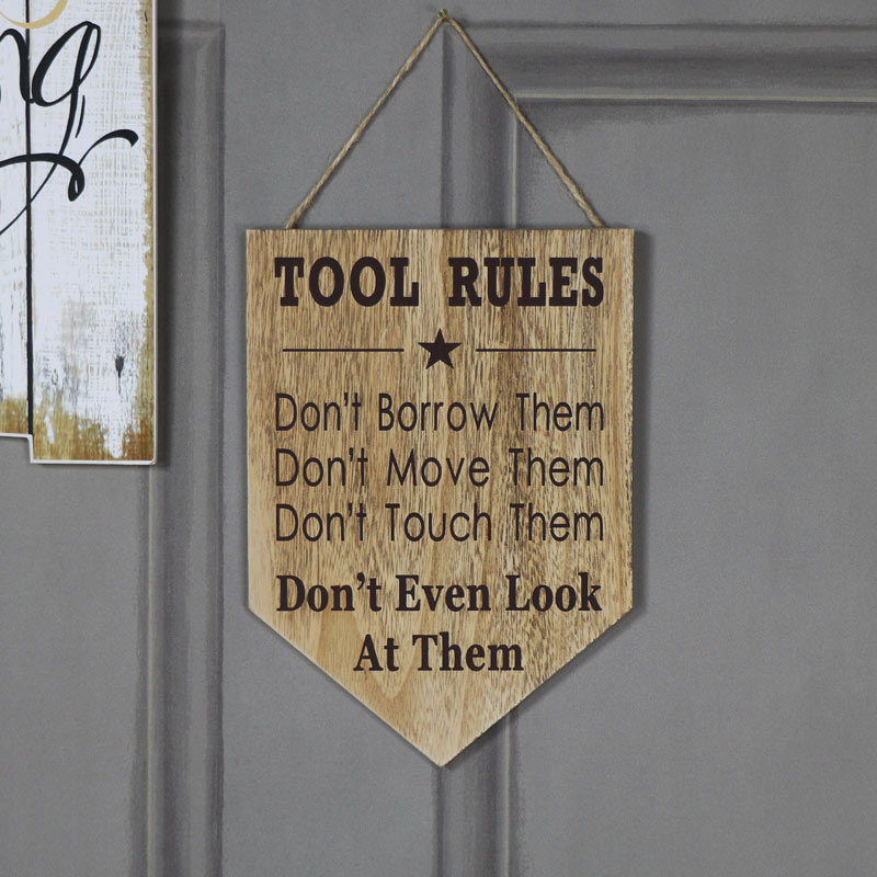 Humorous 'Tool Rules' Wall Plaque
