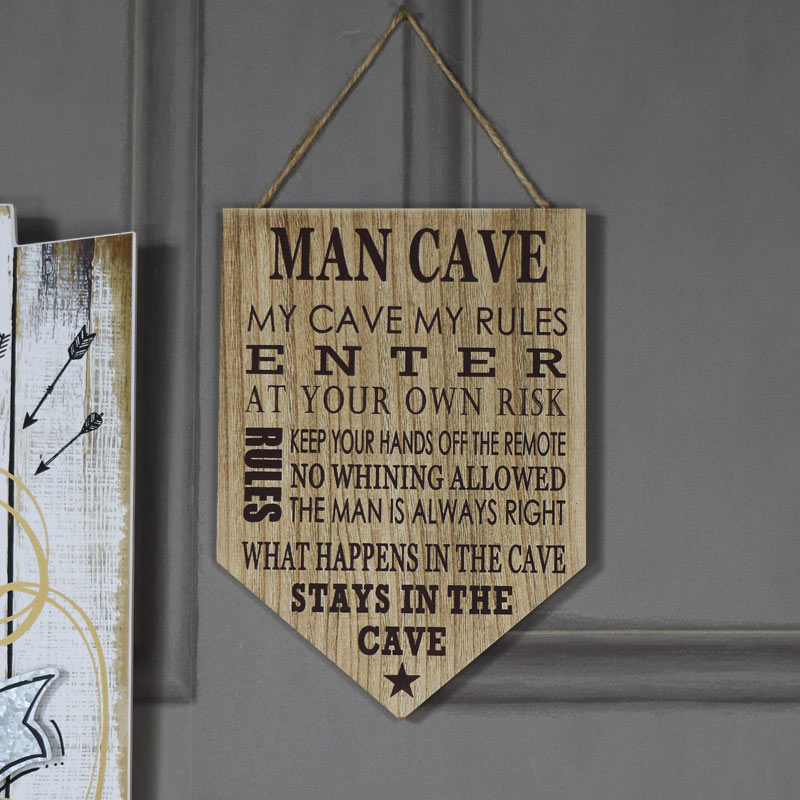 Humorous 'Man Cave' Rules Wall Plaque