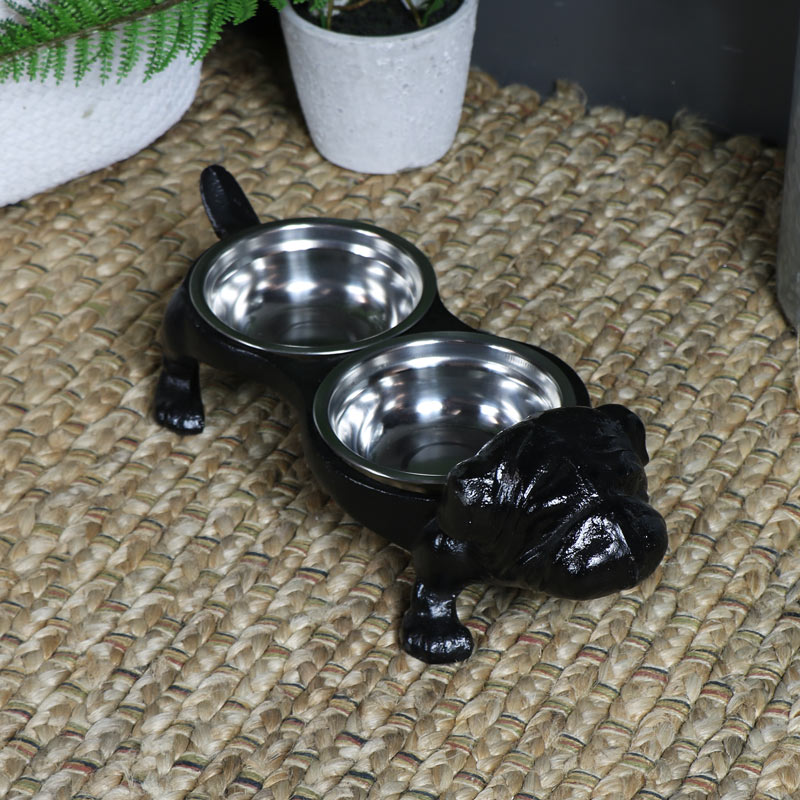 Pair of Dog Bowls in Ornate Stand