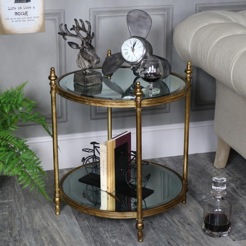 Large Ornate Antique Gold Mirrored Side Table