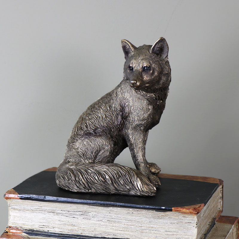 Small Bronzed Sitting Fox Ornament