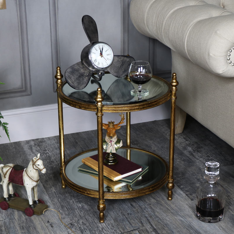 Small Ornate Antique Gold Mirrored Side Table