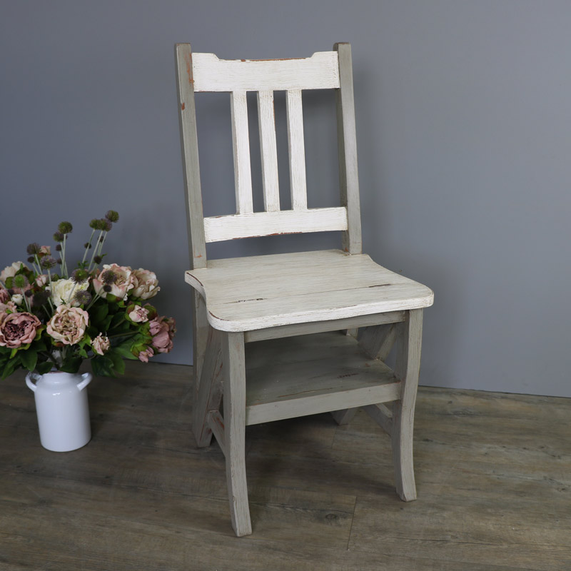 Rustic Wooden Folding Chair Step Ladder