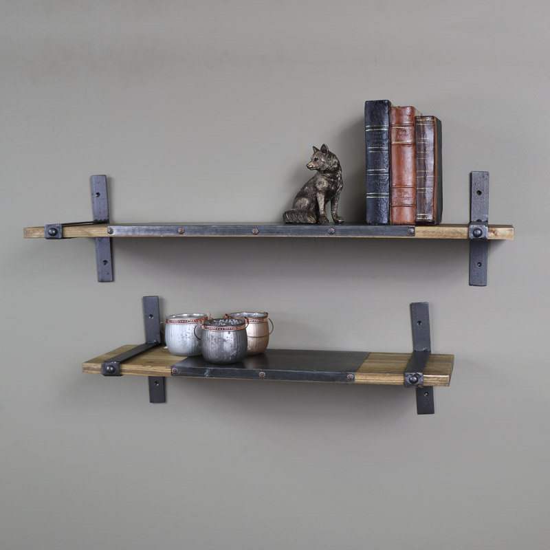Wooden Industrial Style Pair Of Shelves