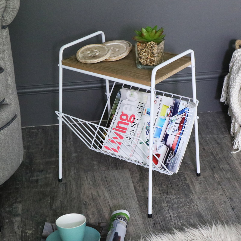 White Vintage Retro Magazine Rack Table