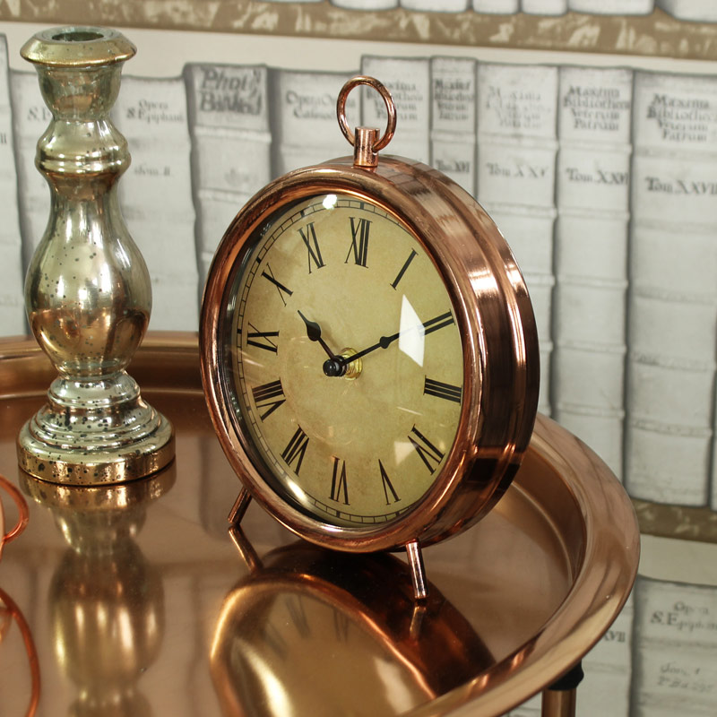 Vintage Style Copper Mantel Clock