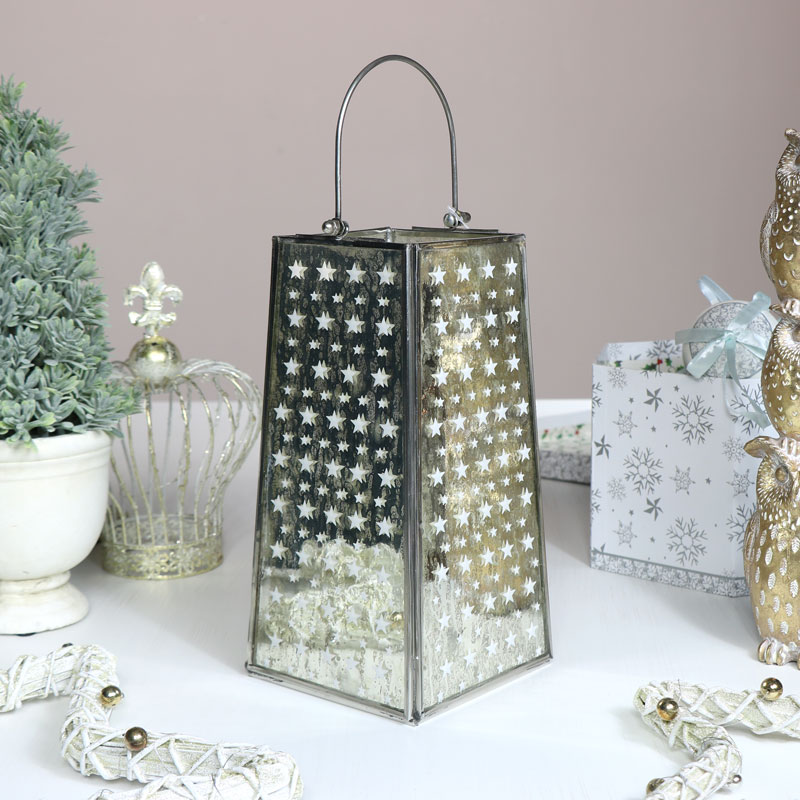 Silver Star Christmas Candle Lantern