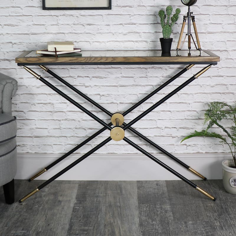 Black and Gold Mirrored Console/Hall Table