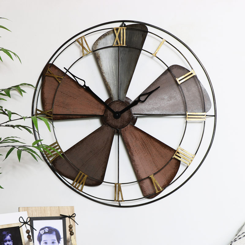 Industrial Vintage Fan Style Wall Clock