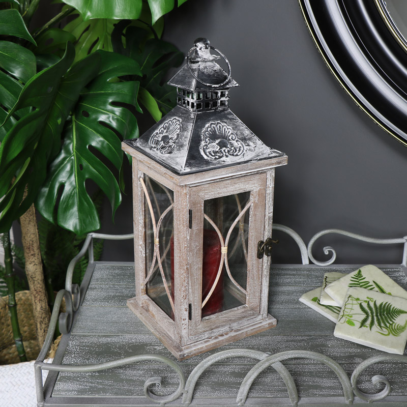 Natural Washed Wooden Rustic Candle Lantern