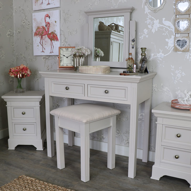 Grey Dressing Table, Stool and Mirror Set - Daventry Grey Range