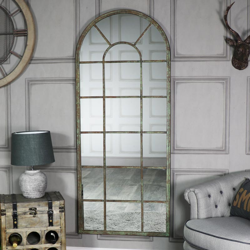 Extra Large Rustic Arched Window Mirror 66cm x 159cm