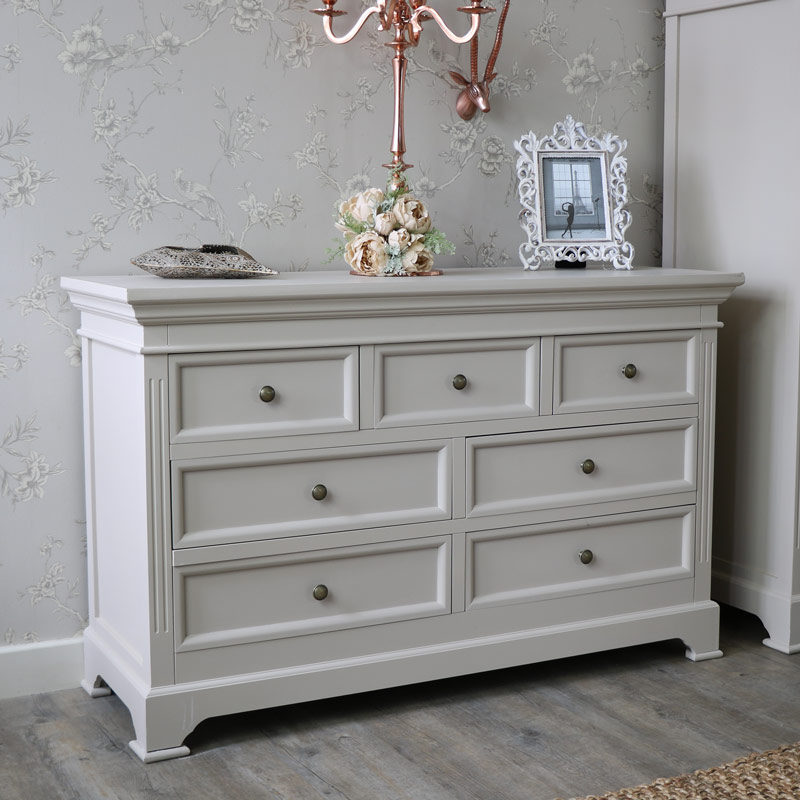 Large Grey 7 Drawer Chest Of Drawers Daventry Grey Range