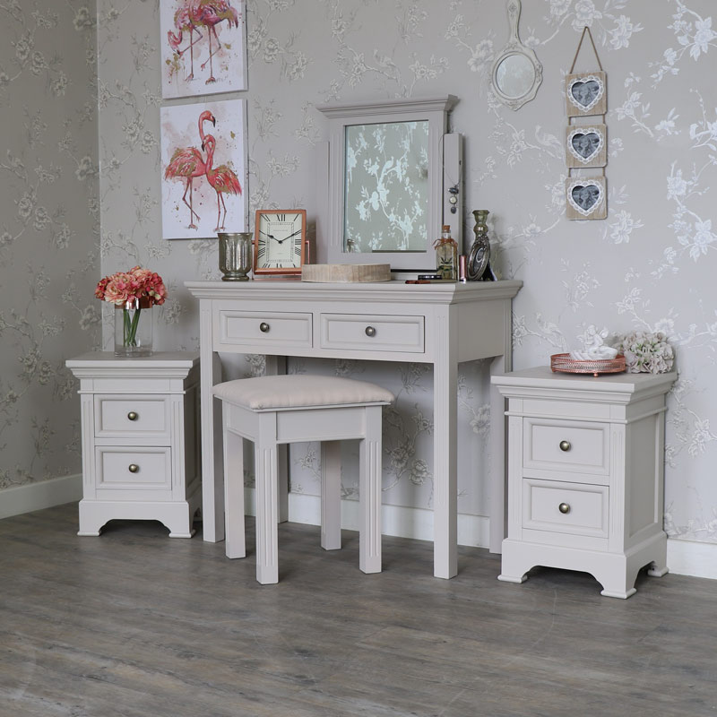 Bedroom Set, Pair of Bedside Tables, Dressing Table, Stool and Mirror - Daventry Taupe-Grey Range
