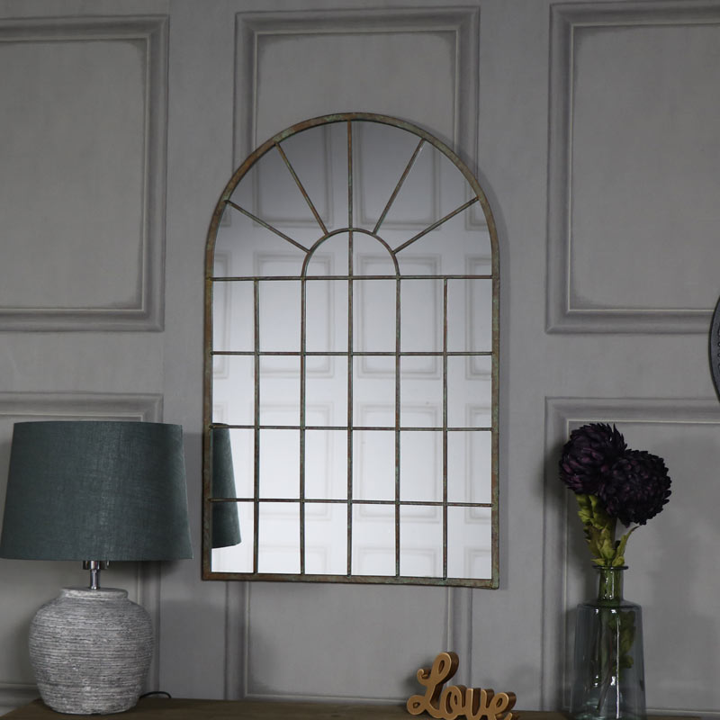 Rustic Wall Mounted Arched Window Mirror 49cm x 77.5cm