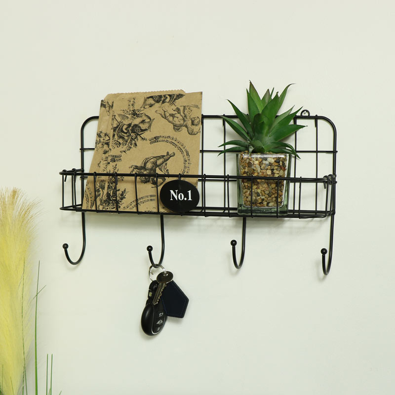 Black Wire Metal Wall Shelf with Hooks
