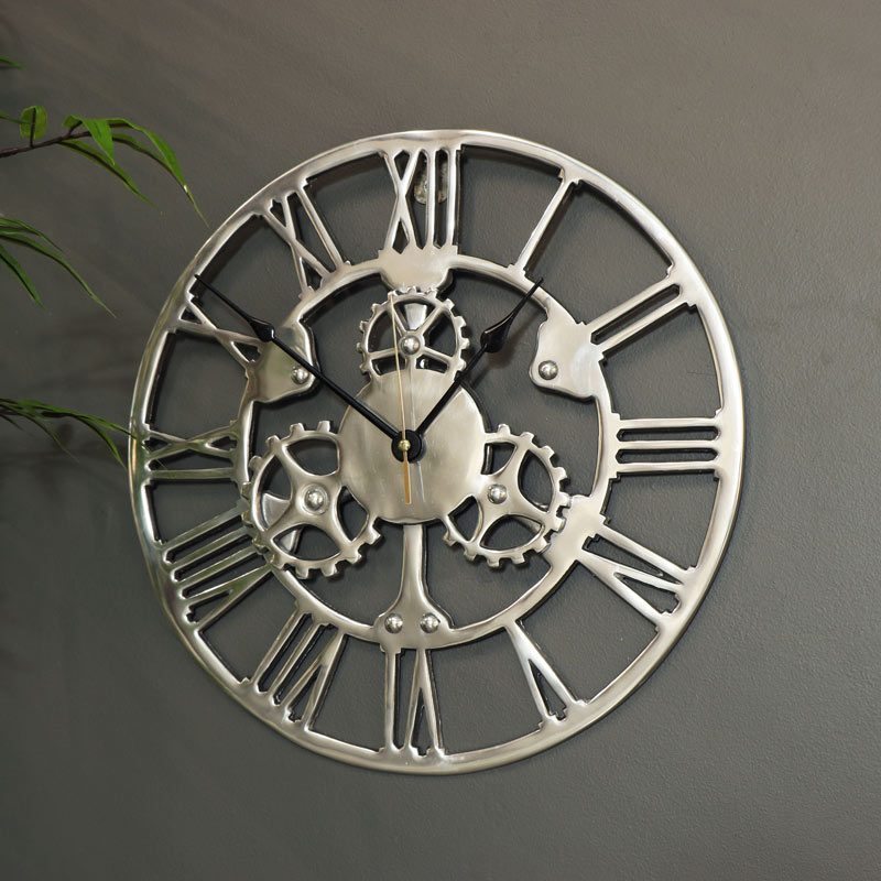 Silver Cog Skeleton Wall Clock
