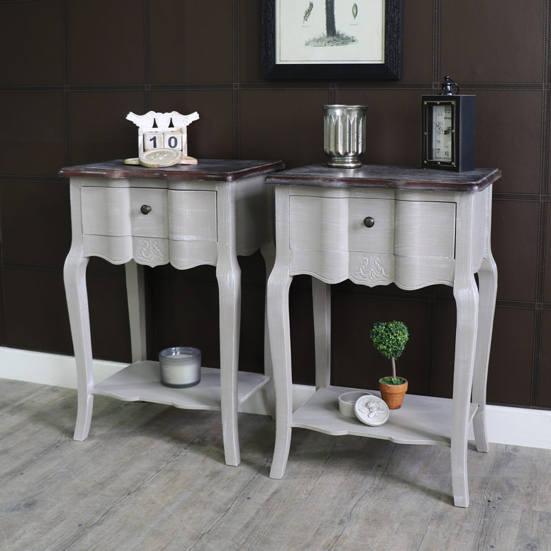 French Grey Range - Pair of 1 Drawer Bedside Table