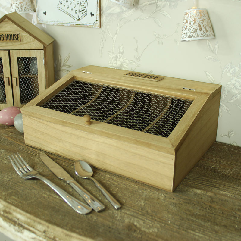 Rustic Wooden Cutlery Holder