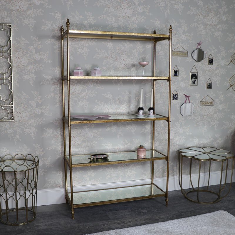 Tall Antique Gold Mirrored Bookcase Display