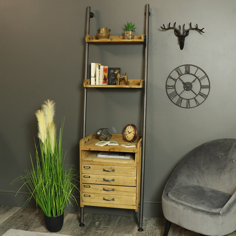 Tall Ladder Style Shelving Unit with Drawers and Pull Out Table