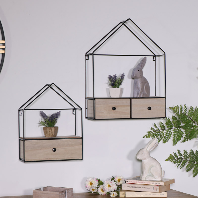 Pair of House Shape Wall Units with Drawer Storage