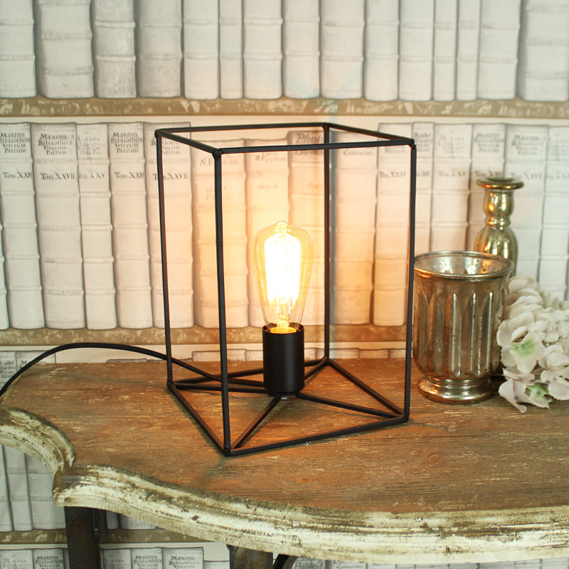Black Open Wired Table Top Lamp