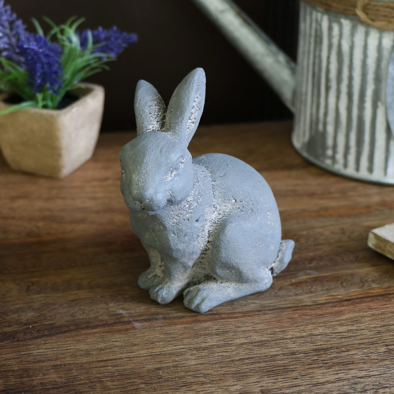 Small Grey Sitting Rabbit Ornament