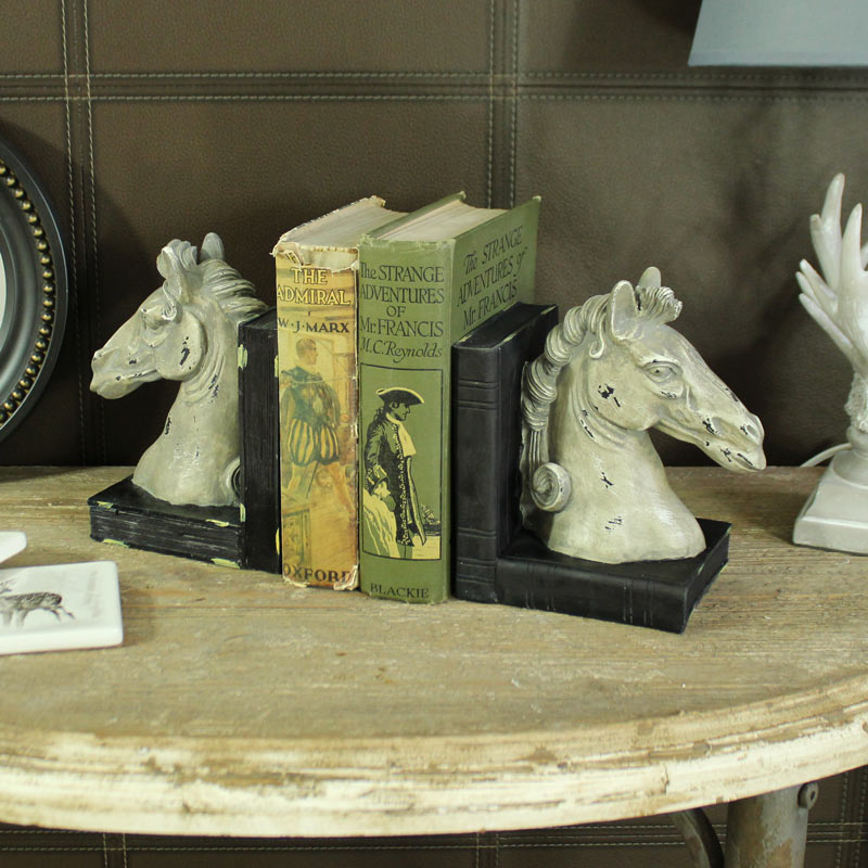 Stone Effect Horse Head Bookends