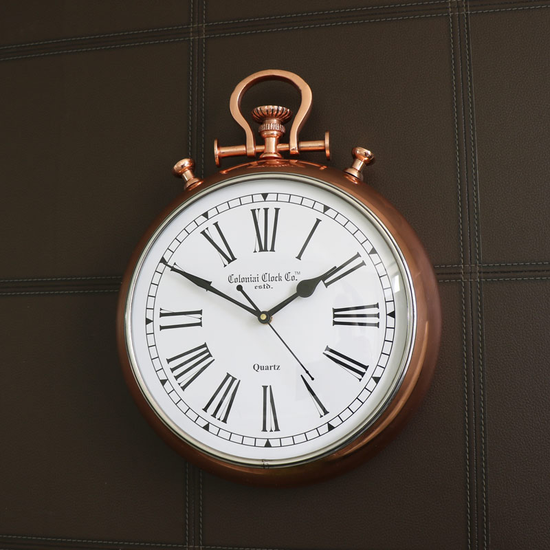 Large Copper Stop Watch Style Wall Clock
