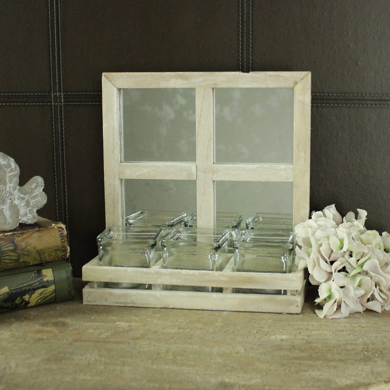 Rustic Wooden Window Mirrored Style Triple Tealight Candle Holder