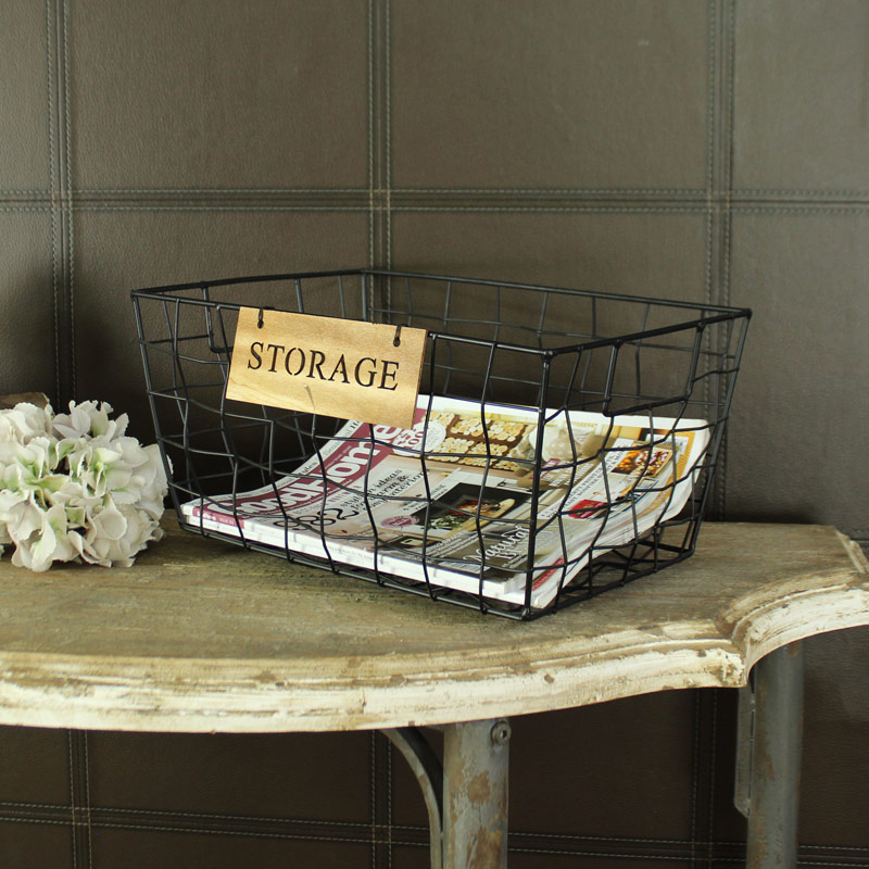 Small Black Metal Wire Storage Basket