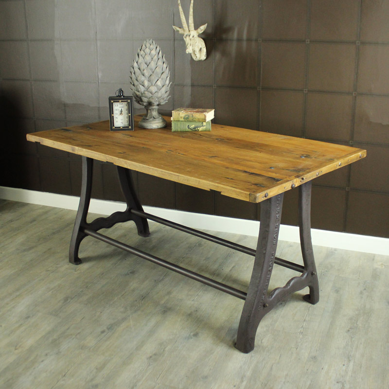 Large Wooden Industrial Rustic Farmhouse Style Dining Table