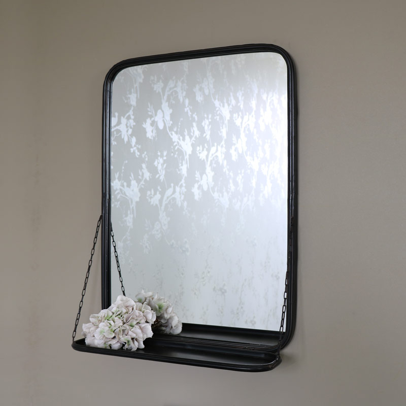 Black Metal Industrial Wall Mirror with Shelf