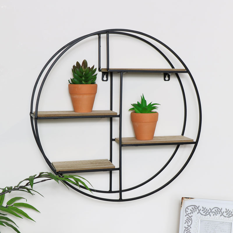 Black Wood & Metal Wall Shelf