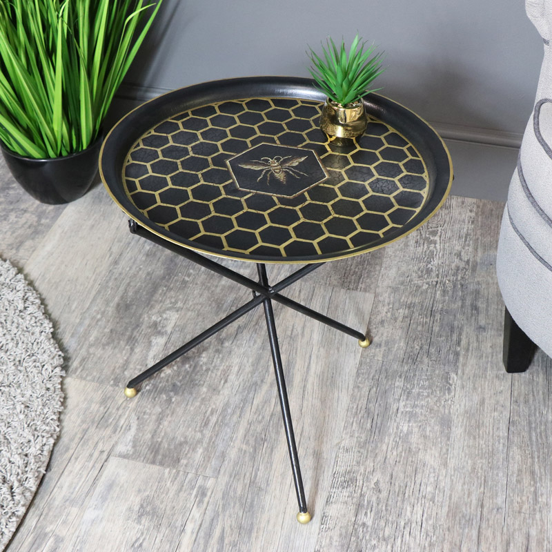 Round Black Tray Style Occasional Table