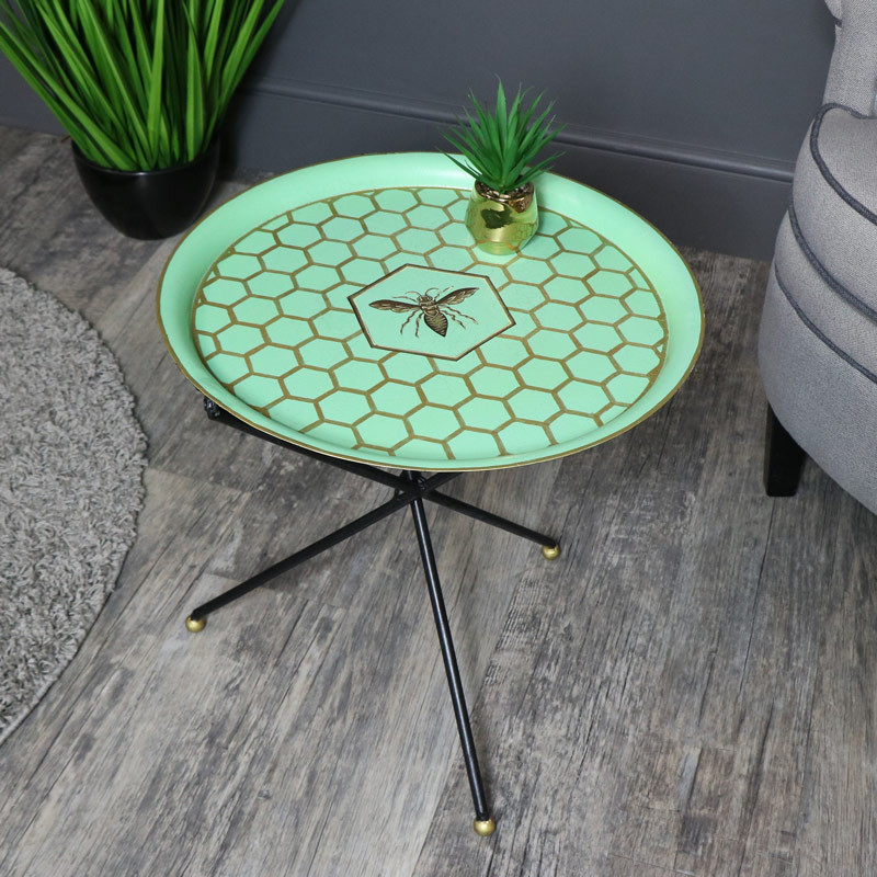 Round Blue Tray Style Occasional Table