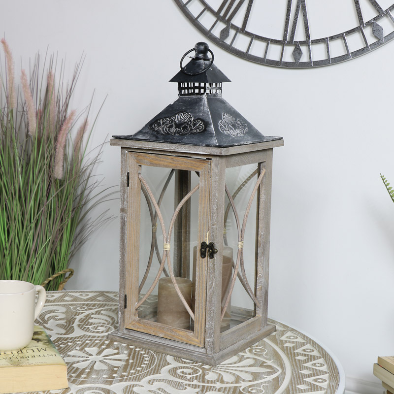 Large Natural Washed Wooden Rustic Candle Lantern
