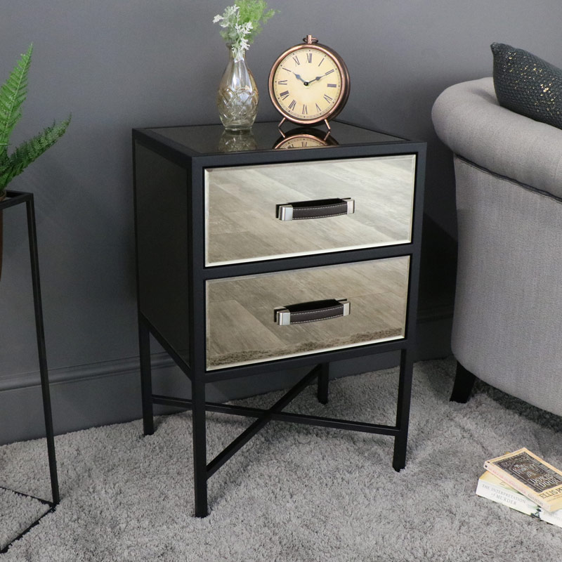 Smoked Copper Mirrored Bedside Table - Vico Range