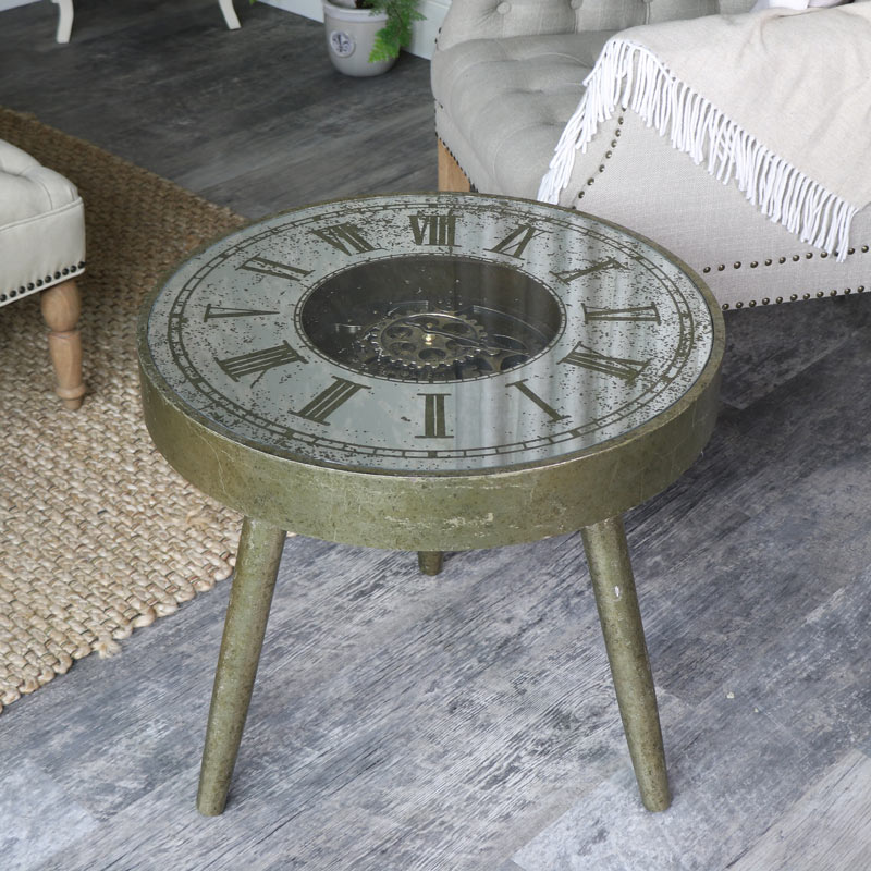 30 Live Edge Coffee Tables That Transform The Living Room: Vintage Gold Clock Coffee Table
