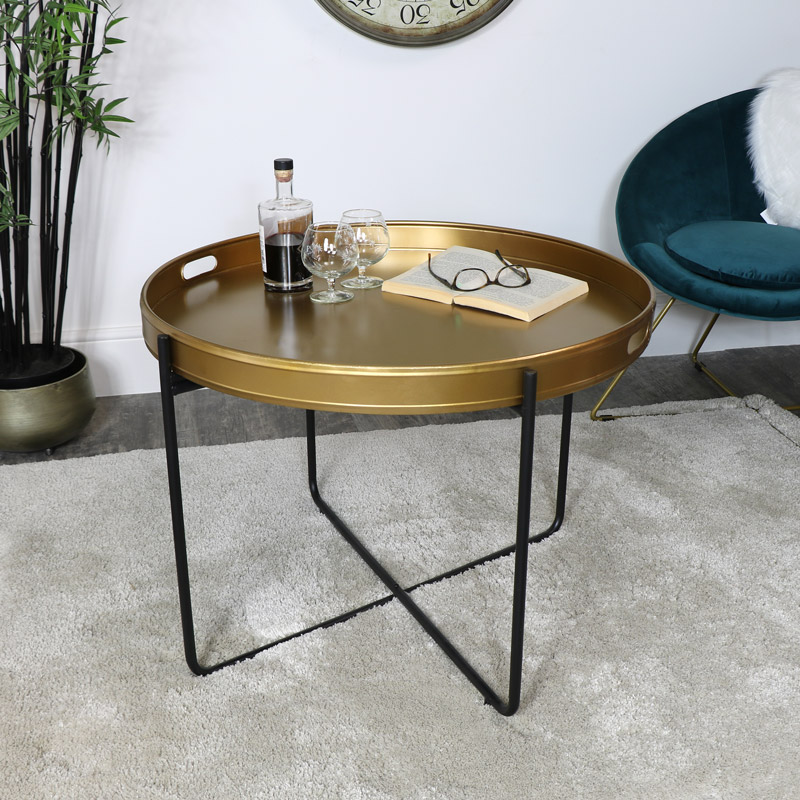 Gold & Black Tray Table - Large
