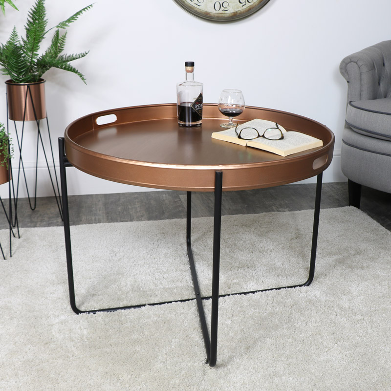 Copper & Black Tray Table - Large