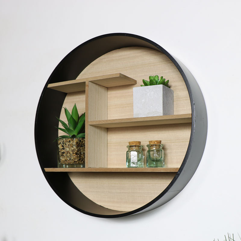 Round Black Wooden Shelf Unit