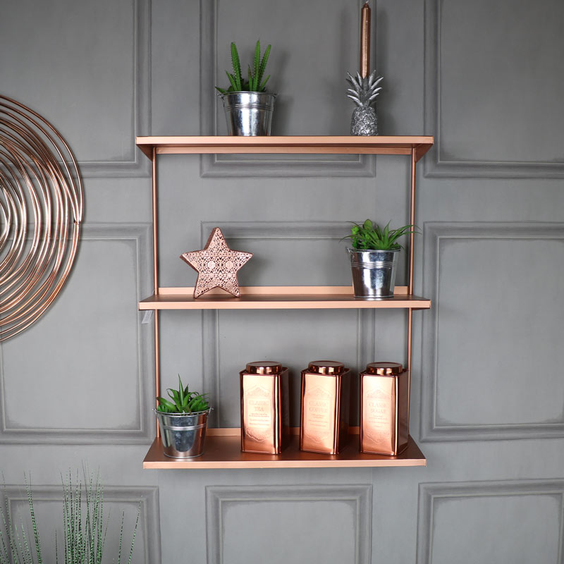 Copper Metal Wall Shelves