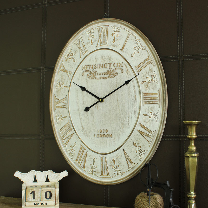 Large Cream Oval 'Kensington' Wall Clock