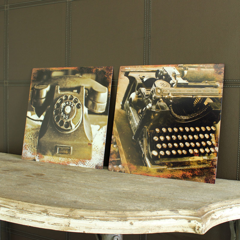 Set of 2 Metal Vintage Typewriter & Telephone Wall Plaques