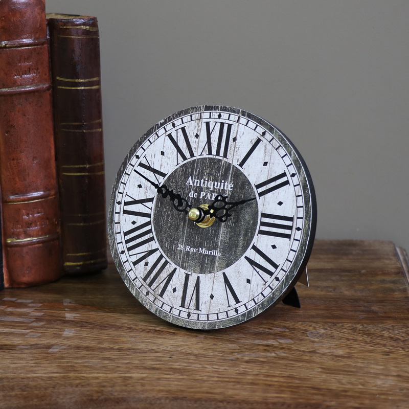 Small Vintage Freestanding Mantel Clock with Roman Numerals