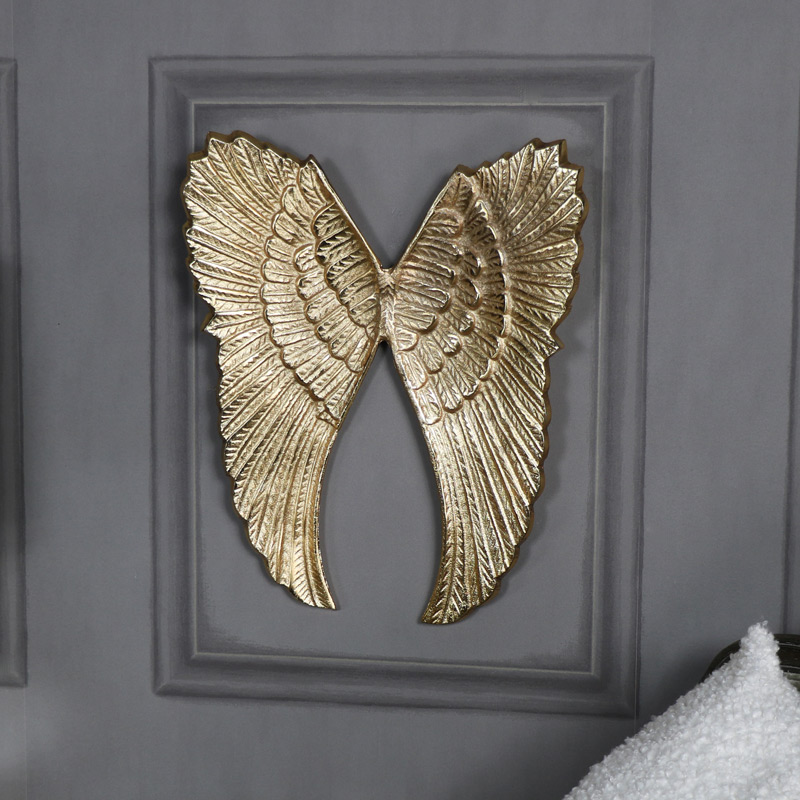 Wall Mounted Gold Metal Angel Wings